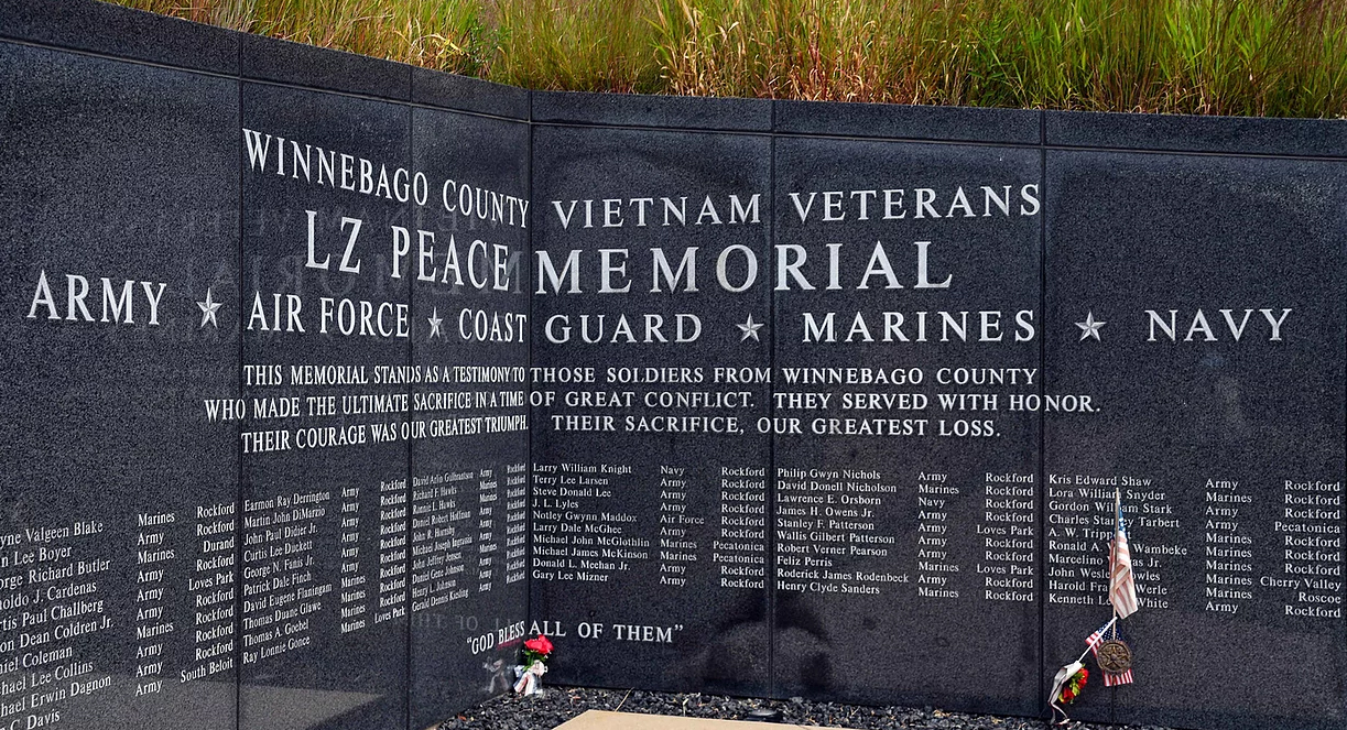 The LZ Peace Memorial in Rockford IL | Midwway Village Museum